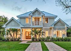 House Plan 66331WE, master-down, two balconies up. Beautiful Florida home