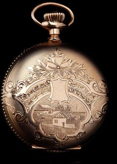 bf396efd6 Bello reloj de bolsillo chapado en oro marca Elgin. Fabricado en EEUU circa  1900. Grabado a mano.