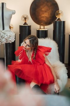 Anna Girl wearing the red Jean Batista Valli tull dress Red Jeans, Girls Wear, Tulle Dress, Campaign, Anna, How To Wear, Inspiration, Dresses, Fashion