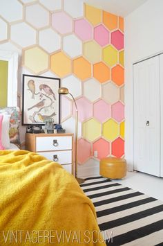 Honeycomb Ombre Hexagon Wall in an Incredible Little Girls Room Makeover!  So fun and imaginative, its perfect for a little girl with some sass to her!