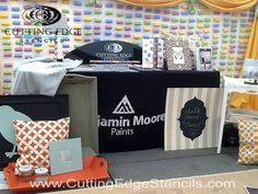 This Cutting Edge Stencils blog post shows Cutting Edge Stencil's booth at the Brimfield Antique show with Benjamin Moore paints. Using stencils to recycle old...
