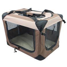 Multipurpose Pet Soft Crate with Fleece Mat - Coffee/Khaki