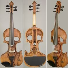 """The Stratton Skull 5-String Electric Violin is a bold and unusual instrument designed by cool dude, Jeff Stratton. """"If you need an electric violin that strikes as bold a stance on-stage as you do, look no further.""""  $2,999.00 at the Electric Violin Shop."""