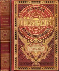 Original Jules Verne book cover from 1800's. The Voyages Extraordinaires (literally Extraordinary Voyages or Extraordinary Journeys) are a series of fifty-four novels by the French writer Jules Verne, originally published between 1863 and 1905. Currently reading Around the World in 80 Days.