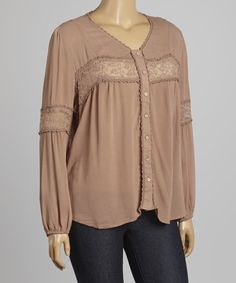 Mocha Lace Button-Up Top - Plus by Blu Pepper #zulily #zulilyfinds