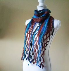 Free shipping/Alize crochet neacklace mesh wrap blue-bordeaux colors modern shawl-hand made accessories/ready to ship/Spring shawls Beautiful Gifts, Beautiful Things, Neck Scarves, Brown And Grey, Best Gifts, Handmade Gifts, Artisans, Free Shipping, Scarfs