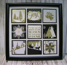 With all the Gold Foil and Glimmer Paper in this framed art project it shimmers and shines for an elegant winter display.  Fellow demonstrator Leann was the inspiration for this beautiful framed art p
