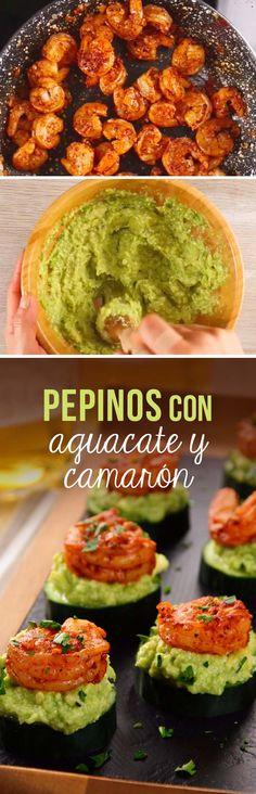 Pepinos con aguacate y camarón Mexican Food Recipes, Vegetarian Recipes, Cooking Recipes, Healthy Recipes, Healthy Tips, Seafood Diet, Food Porn, Deli Food, Food Tasting