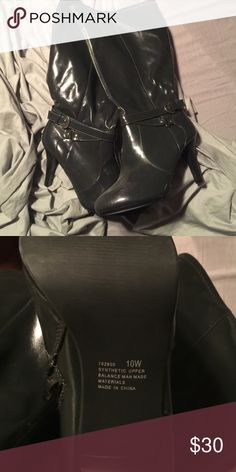 Boots!!!! Only tried on, never worn outside. 10W beautiful grey Shoes Heeled Boots