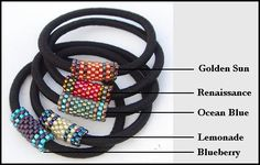 Peyote stitch hair bands from calitrendz.com. Would make cute bracelets.