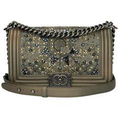 72baa9c67cf8 Chanel Structured Shoulder Bag - Medium Boy Bag Metallic Bronze Goatskin  Ruthenium Hardware Crystal