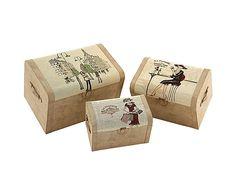 Set de 3 cajas arcones Lady. Largo: 60 cm Alto: 40 cm Ancho: 40 cm