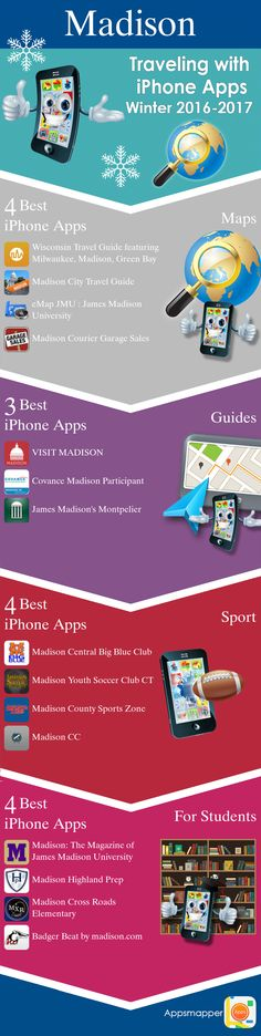 Madison iPhone apps: Travel Guides, Maps, Transportation, Biking, Museums, Parking, Sport and apps for Students.