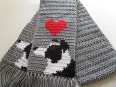 Border Collie Scarf.  Grey crochet scarf with black and white collies. Wow you can really buy anything on etsy