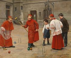 Paul Charles Chocarne-Moreau - Playing Croquet Paul Charles Chocarne-Moreau (Dijon, 1855 - Neuilly-sur-Seine, 1931) was a French painter and illustrator. He specialised in scenes from Parisian life whose heroes are usually young boys from from popular media (young apprentices, chimney sweeps, choir boys, and schoolchildren) engaged in all kinds of pranks. ...
