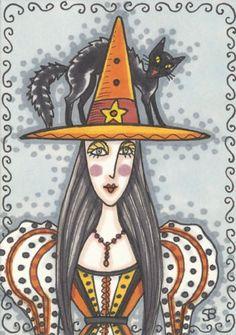 Black & Orange Ink WITCH Portrait BLACK CAT HALLOWEEN Susan Brack Art ACEO EHAG