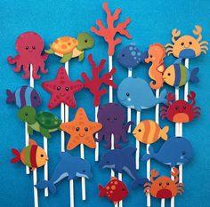 Sea cupcake toppers, Ocean cupcake topper, Under the sea cupcake toppers, sea creatures toppers, se Under The Sea Crafts, Under The Sea Theme, Under The Sea Party, Mermaid Cupcake Toppers, Mermaid Cupcakes, Ocean Cupcakes, Ocean Themes, Mermaid Birthday, Sea Creatures