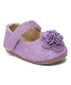 Look what I found on #zulily! Purple Sparkle Flower Mary Jane #zulilyfinds