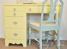 Yellow Sewing Desk Makeover