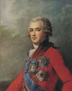 "PRINCE PLATON ALEXANDROVICH ZUBOV (1767 – 1822)  by Johann Lebrecht Eggink. Last lover of CATHERINE THE GREAT.  Only 22 when he became 60 year old Catherine's lover, she nicknamed him 'Babe"". She was so crazy about him that she gave him even more power than she had given Potemkin. Nearly everyone else at court regarded him as capricious and unstable. When Catherine died TSAR PAUL I  banished him to Europe. He died in ignominity at Rundale Palace in Latvia in 1822."