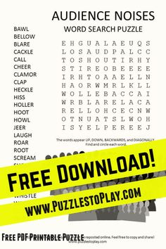 Shh! The audience noises word search is a look at the different noises we hear the crowds make when the cameras are rolling. It's a free download and printable puzzle.