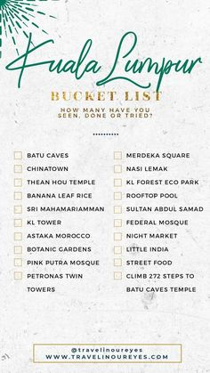 Our Kuala Lumpur Bucket List for this trip! Feel free to download / use / share this as your KL Bucket List template - we just ask for credit mention and/or a tag/shout. www.travelinoureyes.com #kualalumpur #malaysia #bucketlist #travelguide