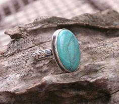 Turquoise Blue Sterling Fine Silver Oxidized Boho by MissieRabdau