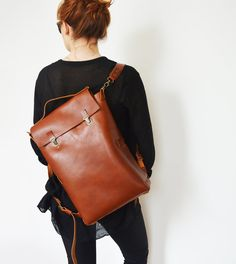 2in1: Backpack + Tote/ 15 Leather Backpack/ Leather Rucksack/ Laptop backpack/ Backpack/ Minimalist/Office backpack/ Minimal backpack/Tote