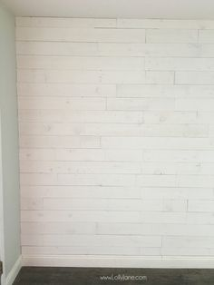 Wallpaper Accent Wall - Loving this peel and stick shiplap wall treament! Easy to install, no painting r. - Wildas Wallpaper World Peel And Stick Shiplap, Peel And Stick Floor, Shiplap Wall Paper, Wood Wall, Look Wallpaper, Wall Wallpaper, Wallpaper Ideas, Flooring On Walls, White Shiplap