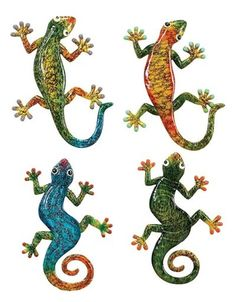 Colorful Long Lizard and Gecko Wall Decor Set of 4 Colorful Lizards, Wall Decor Set, Southwestern Decorating, Colored Highlights, Cool Walls, Nautical Theme, Mosaic Glass, Stained Glass, Sculptures
