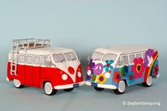 September Spring Gallery: Back to the sixties: Flower Power bus and red-white VW bus
