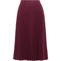 Prada Plissé twill midi skirt ($1,005) ❤ liked on Polyvore featuring skirts, prada, burgundy, burgundy a line skirt, purple a line skirt, calf length skirts, pleated a line skirt and burgundy midi skirt