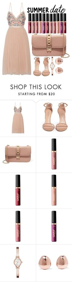 """*SUMMER DATE*"" by jjlenka ❤ liked on Polyvore featuring Needle & Thread, Stuart Weitzman, Valentino, tarte, DKNY and Monica Vinader"