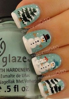 Check out these Christmas snowman nail art designs & ideas of these Xmas nails are simply amazing. Nail Art Noel, Xmas Nail Art, Holiday Nail Art, Xmas Nails, Christmas Nail Art Designs, Winter Nail Art, Winter Nail Designs, Cute Nail Designs, Winter Nails