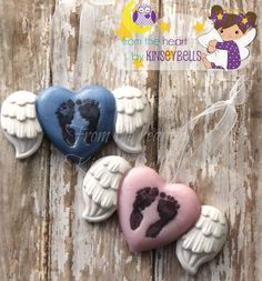 Baby Memorial,Footprint angel ornaments for infant loss, pregnancy loss, miscarriage. Your choice pink or blue or request a custom color.