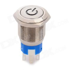 Stainless Steel Red LED Reset Push Button Switch w/ Red LED Indicator - Silver (24V). Widely used for vehicle DIY or electrical installation.. Tags: #Electrical #Tools #Switches #Adapters