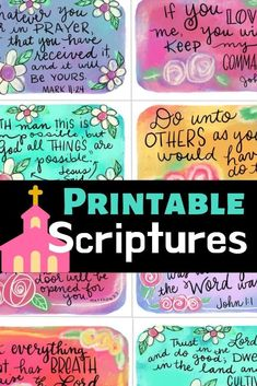 Create with Christie Scripture Cards, Printable Scripture, Free Printable, Prayer Box, Prayer Flags, Prayer Cards, Sunday School Projects, Diy Christmas Gifts, Hand Lettering