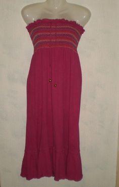 Pink Strapless Summer Bandeau Dress, Size 12