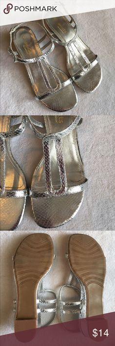 "Silver Sandals Cute silver sandals! Have a ""snakeskin"" design. Good used condition. Size 7. Low heel. Small wear mark on toe of one shoe(seen in last picture) coconuts by matisse Shoes Sandals"