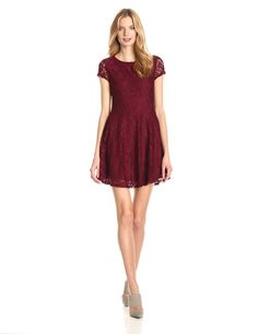 Cap Sleeve Lace Fit and Flare Dress by Glamorous