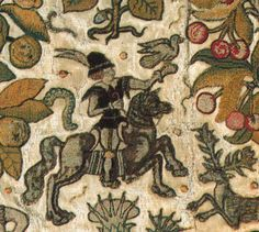 16th Century pillow -- hawking man on horseback