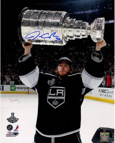 Jonathan Quick Signed Holding Stanley Cup Trophy Vertical 16x20 Photo