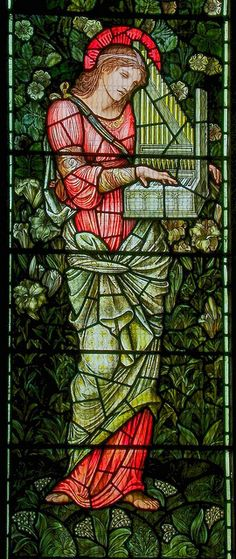 St Cecilia, stained glass designed by Edward Burne-Jones, produced by Morris & Co in about From St Mary's parish church, Oxted. Stained Glass Church, Stained Glass Angel, Stained Glass Windows, Mosaic Art, Mosaic Glass, Sainte Cecile, Edward Burne Jones, William Morris, Stained Glass Designs