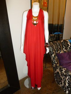 Draped maxi dress in red!