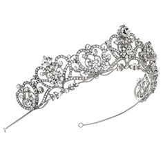 USABride Vintage Silver-Tone Rhinestone Crown, Royalty Crystal Bridal Tiara 3173 *** Find out more about the great product at the image link.