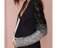 One button slim suit silver black gradient sequins sleeves coats 3