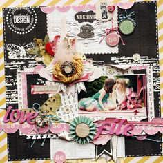 Layout with #pinkpaislee and the #epiphanycrafts Shape Studio Tool Round 25 by Larissa. #scrapbook