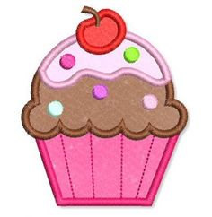Embroidery Designs - Applique Cupcake 2 - Welcome to Lynnie… Applique Embroidery Designs, Machine Embroidery Applique, Applique Patterns, Applique Quilts, Embroidery Files, Sewing Appliques, Baby Quilts, Quilt Blocks, Stitch