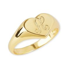 Argento Vivo Initial Heart Signet Ring ($68) ❤ liked on Polyvore featuring jewelry, rings, 14k ring, letter jewelry, engraved signet ring, engraved jewelry and engraved initial rings