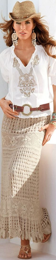BOHO CHIC with Boston Proper I want this entire wardrobe. hat, earrings, top, and absolutely that skirt!! <3<3: